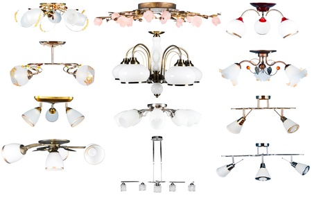 Electric vintage and modern lamp set. Side view. Isolated over white background photo