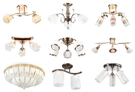 9 different halogen and electric lamps. Isolated over white background