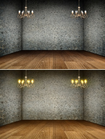 Vintage chandeliers shining in aged inetior. Wooden parquet and concrete walls at the backround photo