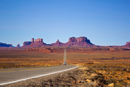 a view of the Monument Valley, coming from Mexican Hat, Utah photo