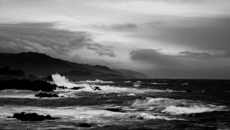 サイプレス ポイント、17 マイル ドライブからの太平洋の眺め 写真素材