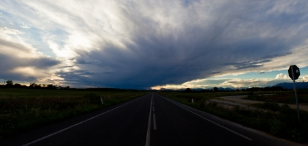 sunset on a road in the country of Friuli Venezia-Giulia photo