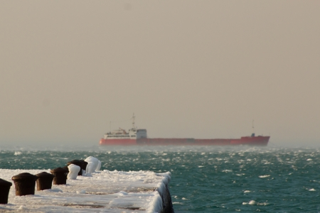 a tanker in the bay of Trieste in a windy day of the winter photo