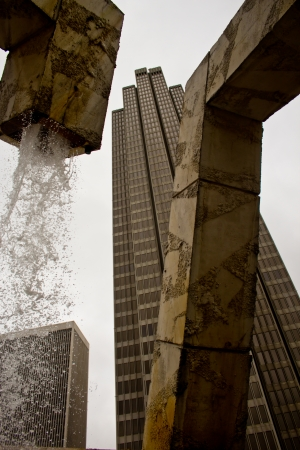 san fran: a view of a skyscraper from the Vaillancourt Fountain