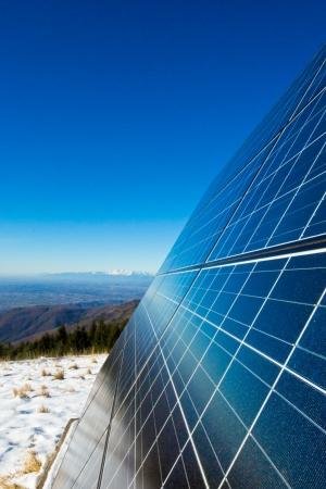 solar cells on the top of the mountain, italy photo