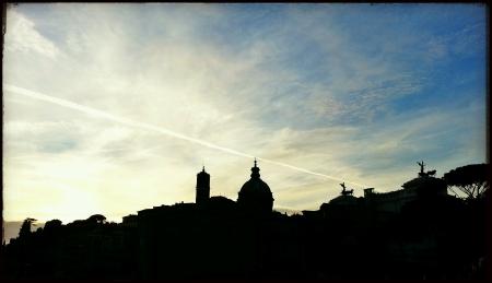 obelisc: Sun goes down on fori imperiali Rome