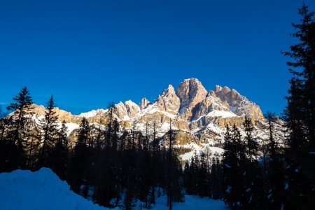 a view of Mount Cristallo from Faloria skiing station in a morning in the middle of winter