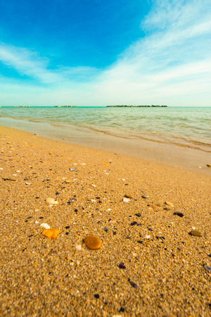 a sunny summer morning on the beach of San Benedetto del Tronto, Italy photo