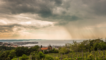 storm approaching the gulf of Trieste, Italy, in a spring day photo