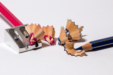 sharpening: Two pencils with an iron sharpener