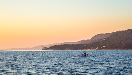 trieste: with a kayak in the bay of Trieste Stock Photo