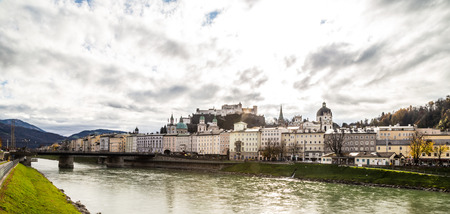 salzach: a view of the city of Salzburg with its river, the Salzach