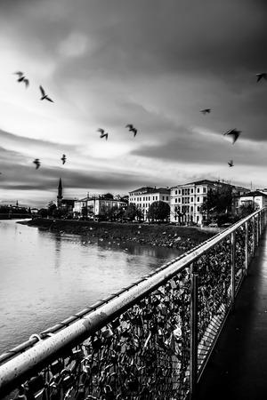 salzach: Padlocks of love on a bridge on Salzach River, Salzburg, Austria