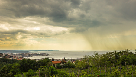 trieste: storm approaching the gulf of Trieste, Italy, in a spring day Stock Photo