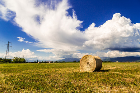 storm coming: storm is coming on a field with hay bales Stock Photo