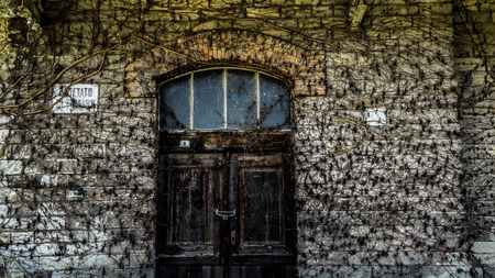 locked in: a locked door in an old day in Stock Photo