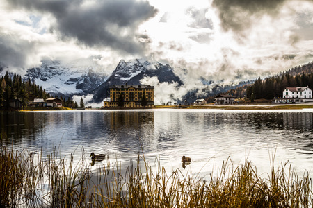 lake misurina: Misurina lake of Tre cime di Lavaredo, Italy