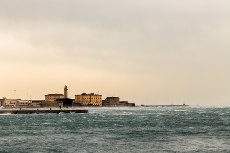 trieste: a windy winter afternoon at the port of an italian city Stock Photo