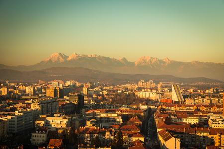 ljubljana: evening in the city of Ljubljana