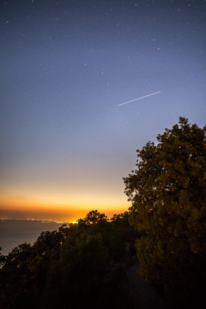 natures: Stars in the sky in a night on the bay of Trieste Stock Photo