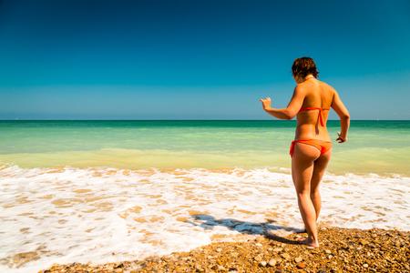 italian sea: girl in the water of italian sea