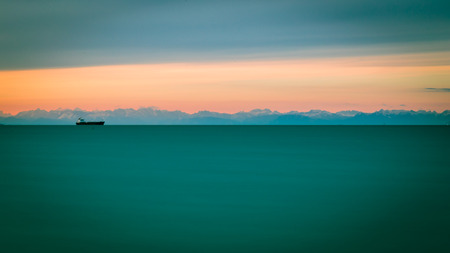 winter evening: Winter evening from the shore of Muggia, Trieste Gulf Stock Photo