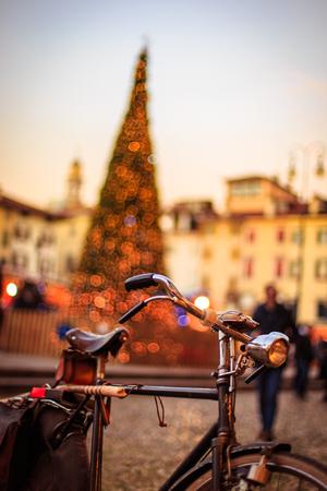christmas time: an Italian square during christmas time Stock Photo