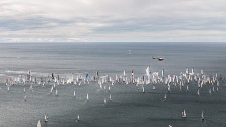 ship bow: one of the biggest regatta in the world: the Barcolana