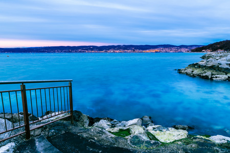 Winter evening from the shore of Muggia, Trieste Gulf Stock Photo