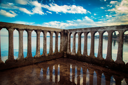 reflection of the lake of Garda, in the town of Desenzano Stock Photo