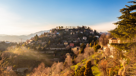The sun goes down on the city of Bergamo, Italy