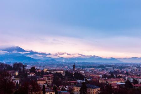 The rain fall down in the city of Bergamo