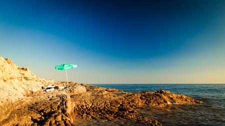 dalmatia: A beautiful blonde girl relaxing in the croatian sea