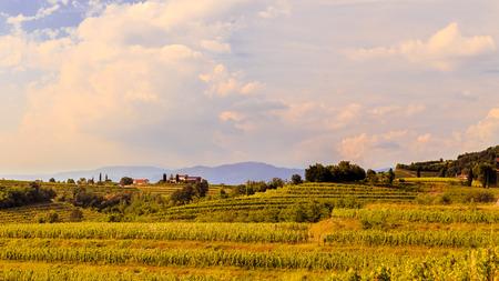 Sunset near the Abbey of Rosazzo, Friuli, Italy Stock Photo
