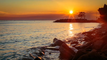 trieste: A spring sunset in the italian summer Stock Photo