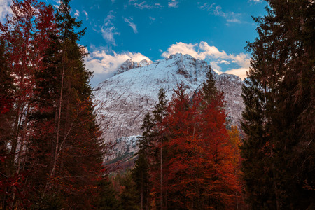 an autumn sunset in the italian alps Stock Photo