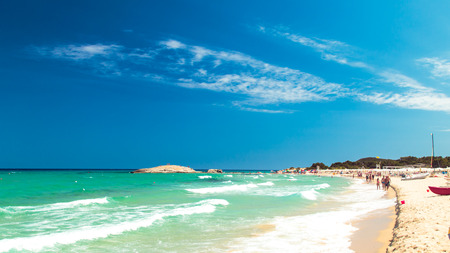 A day at the beach in Sardinia in an hot summer