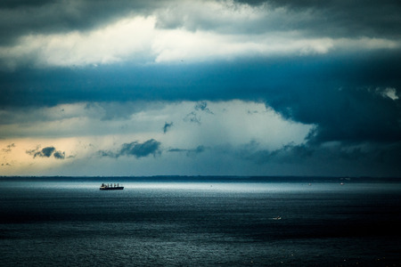 Storm approaching the sea in the gulf of Trieste 스톡 콘텐츠