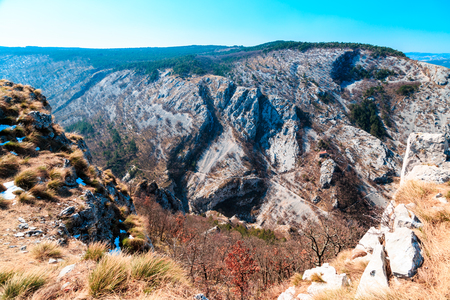 The Val Rosandra, a beautiful valley near the city of Trieste in a spring morning