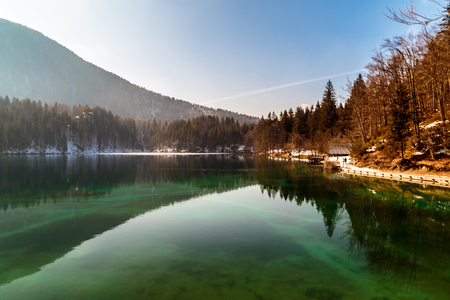 Spring is coming at the alpine lake