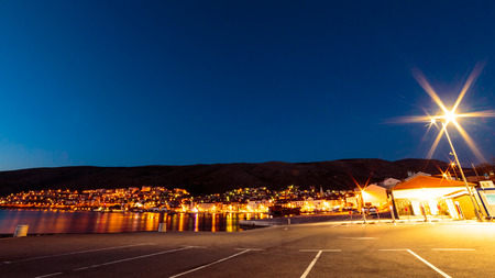 Sunset in front of the port of Senj