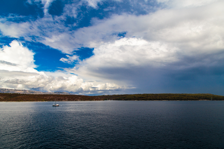 Storm in the sea of Croatia from the Ferryboat leaving Split