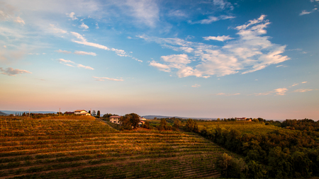 Sunset near the Abbey of Rosazzo, Friuli, Italy in a summer day Фото со стока - 107035893