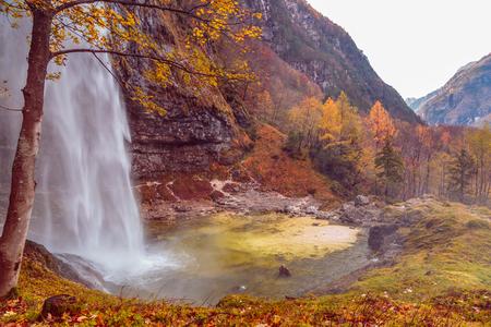 A big waterfall in the italian alps
