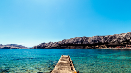 Baska and its beach in a sunny day Stock Photo