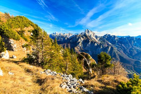 Sunny day in the carnic alps during a colorful autumn
