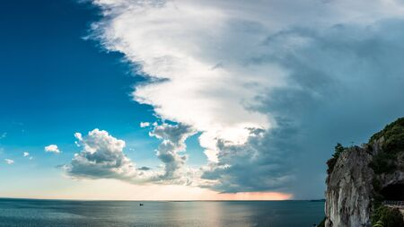 Storm over the sea in the gulf of Trieste, Friuli Venezia-Giulia, Italy