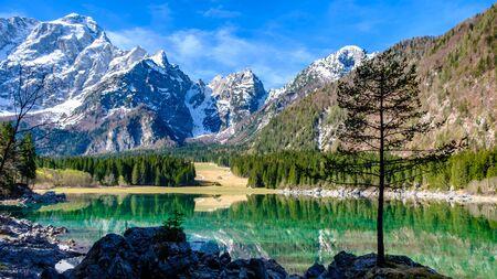 Spring morning at the superior lake of Fusine, Friuli Venezia-Giulia, Italy 写真素材