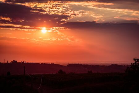 Sunset near the Abbey of Rosazzo, Friuli, Italy in a summer day