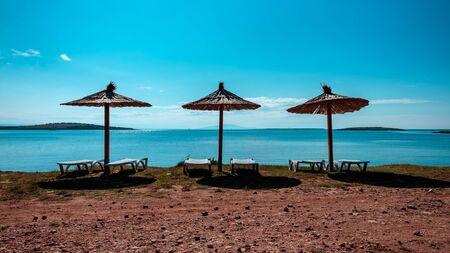 A beautiful beach in Premantura, Croatia Banco de Imagens